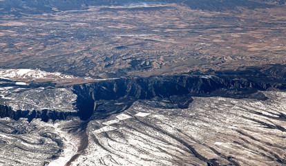 Gorge of Black Canyon seen from the air.