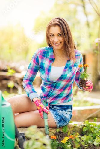 Sticker Beautiful Girl Planting Flowers
