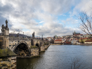 View of Charles Bridge, Prague Castle with Saint Vitus Cathedral.