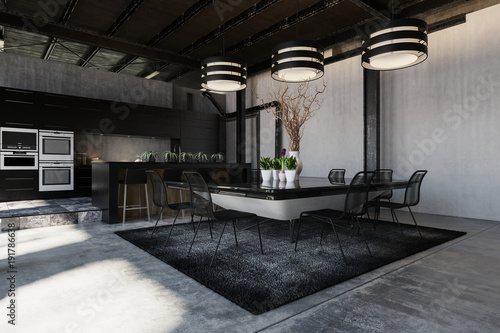Modern black designer loft conversion interior - 191786638