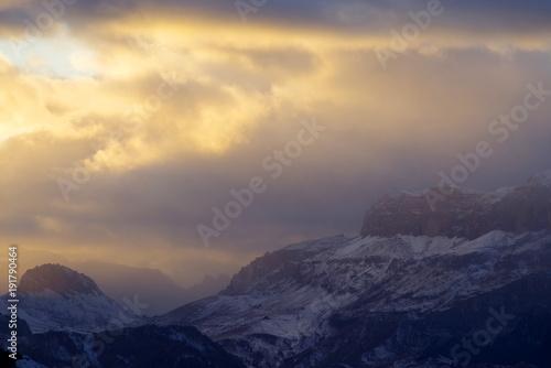 Staande foto Beige Autumn light on the Dolomites, Italy, Europe