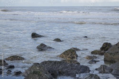 Aluminium Noordzee Low tide featuring dark stones at Scheveningen beach near the Hague. Nature background, North sea in winter.