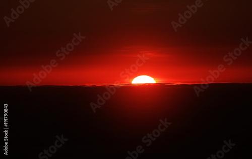 Fotobehang Bruin Sunrise over the Atlantic Ocean, seen from Pico volcano (2351m), Pico Island, Azores, Portugal, Europe