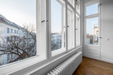 window, old wooden double windows in turn of the century building - 191791878