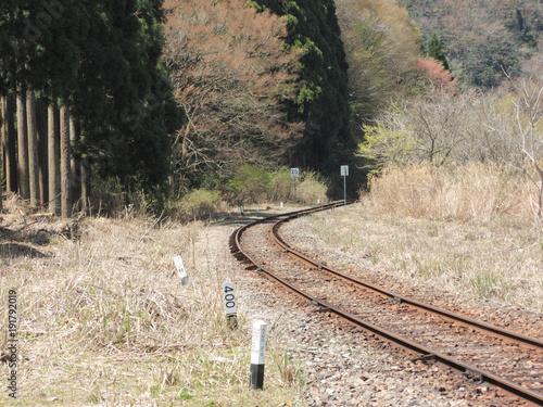 Fotobehang Spoorlijn 日本の岡山県津山市の線路