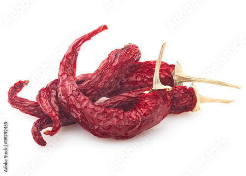 Fotobehang Hot chili peppers dry red hot chilli peppers on white background, isolated, clipping path, full depth of field