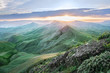 landscape. sunset at the top of the green mountains overlooking the sea