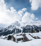 Village in the Switzerland mountain valley. Beautiful natural landscape on the winter time