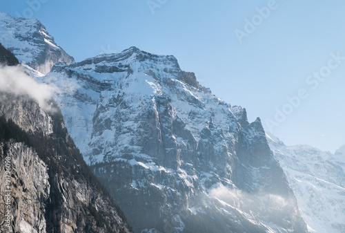 Fotobehang Landschappen Mountain peak in the Switzerland mountain valley. Beautiful natural landscape on the winter time