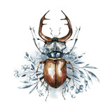 Watercolor beetle with horns on a floral background. Animal, insects. Magic flight. Can be printed on T-shirts, bags, posters, invitations, cards, phone cases, pillows. - 191798059