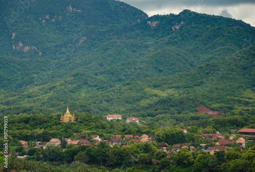 Fotobehang Groen blauw Viewpoint and landscape in Luang Prabang, Laos.