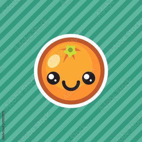 Cute kawaii smiling orange fruit cartoon icon