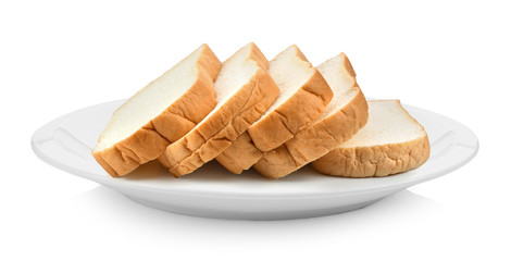 sliced bread in plate isolated on a white background