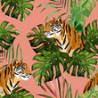 Summer seamless pattern. Tropical print with tiger and palm leaves. Vector illustration