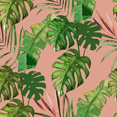Exotic seamless pattern, green tropical leaves, botanical summer print, vector illustration