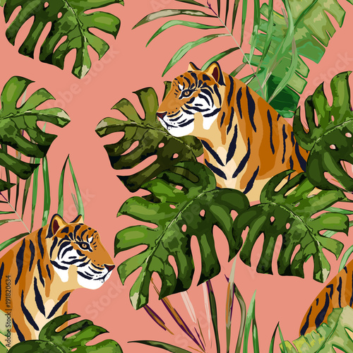 fototapeta na ścianę Summer seamless pattern. Tropical print with tiger and palm leaves. Vector illustration