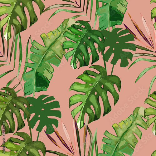 Exotic seamless pattern, green tropical leaves, botanical summer print, vector illustration