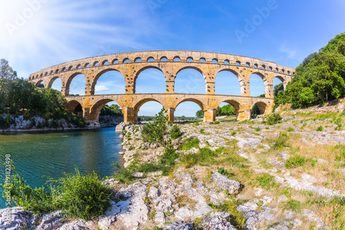 The aqueduct Pont du Gard  was built in Roman times