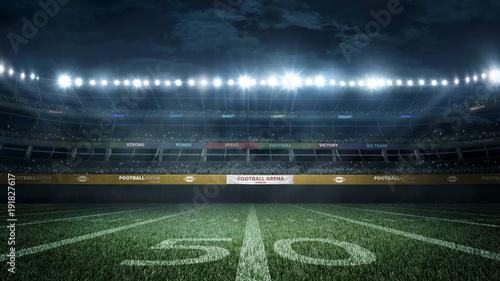 empty football stadium in light rays at night 3d rendering