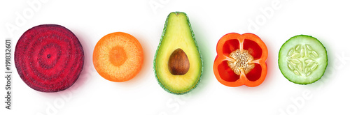 Isolated vegetable pieces. Fresh slices of vegetables (beetroot, carrot, avocado, bell pepper, cucumber) in a row, top view, isolated on white background with clipping path
