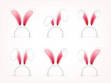 Easter Bunny Ears Pink And  Mask  Rabbit Ear Spring Seasonal Cute Hat April March Holidays Wall Sticker