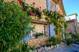 Façade d'une maison avec des fleurs. Village Ansouis, Provence, France.