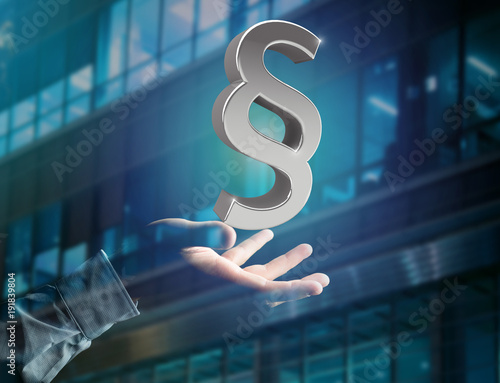 Justice and law symbol displayed on a futuristic interface - 3d rendering