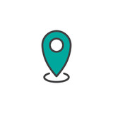 Location pin filled outline icon, line vector sign, linear colorful pictogram isolated on white. Map pointer symbol, logo illustration. Pixel perfect vector graphics - 191844859