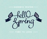 Hello Spring. Joy and fun. Positive seasonal card design. Handwritten calligraphy lettering. Vector illustration
