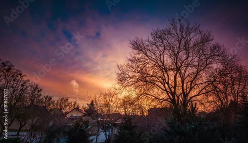 Foto op Canvas Aubergine Sunrise