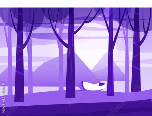 Fotobehang Purper Minimalist landscape, trees, sea, boat, isolated, vector, illustration