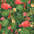 Seamless pattern with tropical leaves, exotic flowers and beautiful flamingos - 191850061