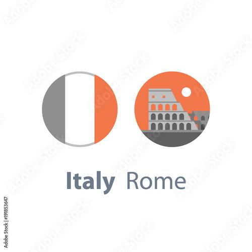 Colosseum view, Italy, Rome symbol, travel destination, famous landmark, tourism concept, round Italian flag
