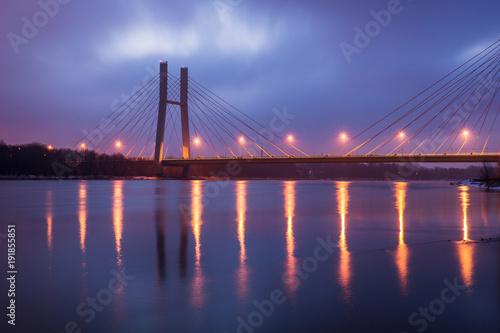 Siekierkowski bridge at night in Warsaw, Poland