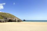 Idyllic Broad Haven South beach near Bosherston deserted in spring sunshine, Pembrokeshire, Wales, UK - 191856084