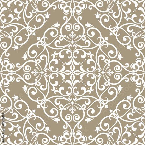 Tapeta w stylu barokowym. Bezszwowe tło wektor. Beżowa i biała tekstura. Kwiatowy ornament. Wektor graficzny wzór
