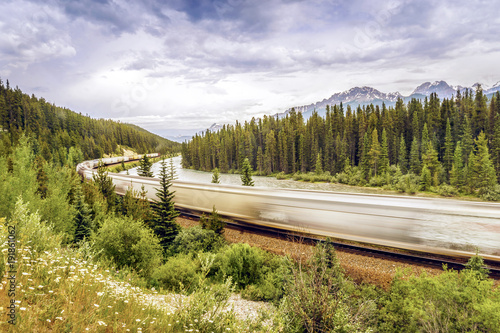 Aluminium Canada Train passing by Banff National Park, Alberta, Canada
