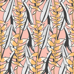 Vintage tropical flower pattern vector seamless with heliconia. Trendy nature background. Exotic print design for spa wallpaper, wrapping paper, fashion fabric or cosmetic package.