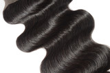 virgin remy middle part body wave black human hair  lace weaves lace closure - 191864458