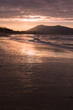 mountain Jaizkibel backlit on atlantic coastline in beautiful pink sunset, hendaye, france