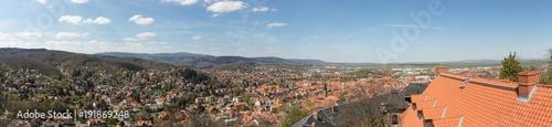 Foto op Plexiglas Panoramafoto s Panorama der Stadt Wernigerode im Harz Gebirge