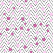 Seamless pattern with zig zag lines and pink flowers. Vector - 191869408