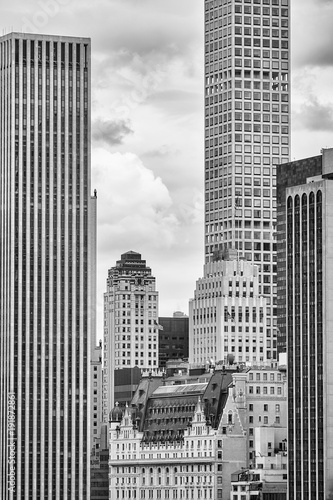Black and white picture Manhattan skyscrapers, New York City, USA.