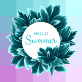 Square Vector Summer Card with Blue Leaves - 191879061