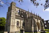 Historic Malmesbury Abbey in spring sunshine, Wiltshire, UK - 191879086
