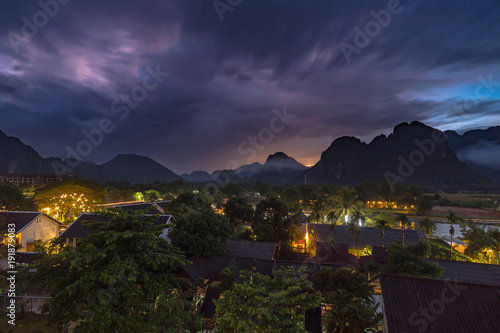 Aluminium Aubergine Landscape and viewpoint at night scene in Vang vieng, Laos.