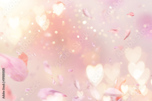 Flowers composition for Valentine's, Mother's or Women's Day. Pink flowers on old white wooden background. - 191880001