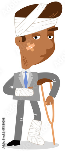 Vector illustration of an injured asian cartoon businessman in bandages and with crutches isolated on white background