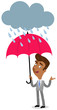 Vector illustration of an asian cartoon businessman standing under an umbrella in the rain isolated on white background - 191880473