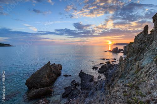 Foto op Canvas Zee zonsondergang coucher de soleil sur la presqu'île de giens, hyères, var